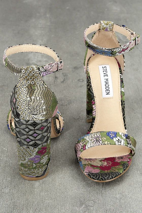 995ecd16341 The Steve Madden Carrson Bright Multi Brocade Ankle Strap Heels are on fire  with a simple