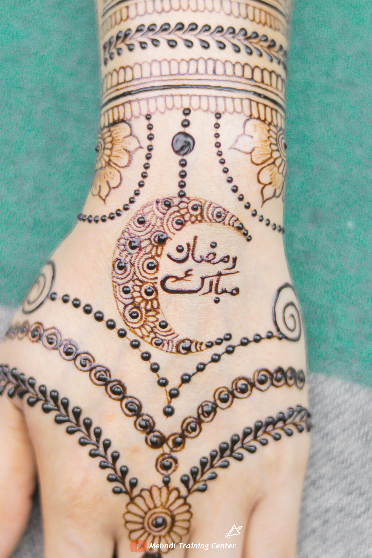 Ramadan Mubarak Beautiful Henna Design 2020 Ramadan Henna Design حن ة شهر رمضان المبارك Henna Hand Tattoo Henna Designs Mehndi Designs