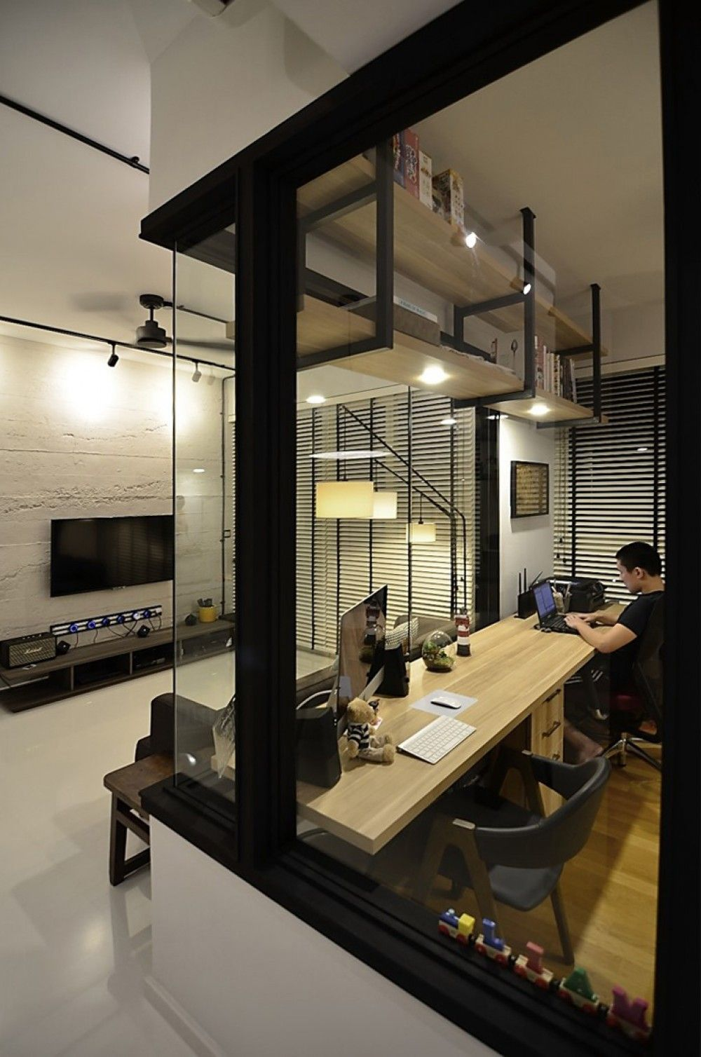 Hdb Study Room Design Ideas: Semi-industrial Manhattan Living Style Was Adopted For The