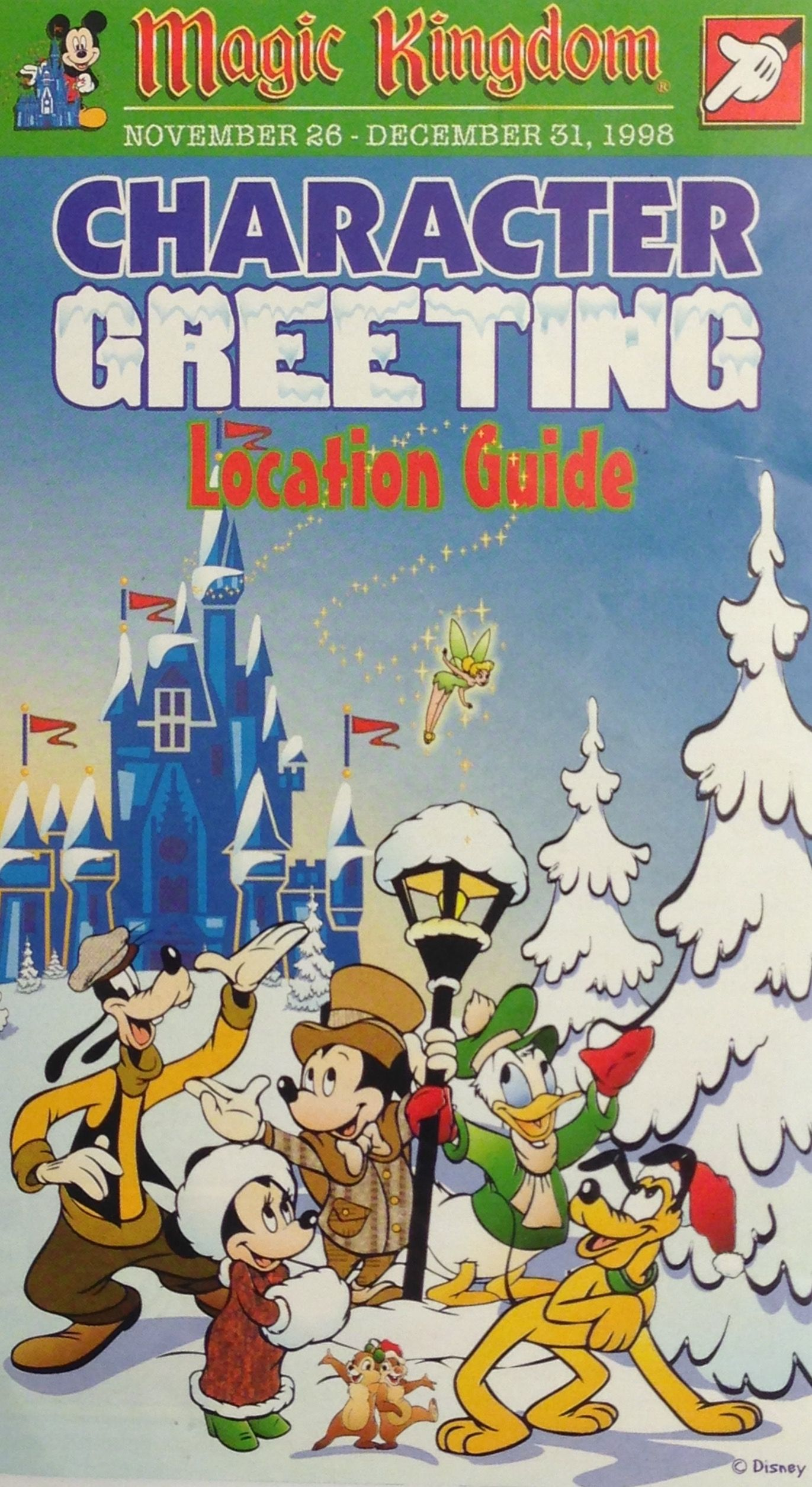 Character greeting map from 1998. Disney christmas