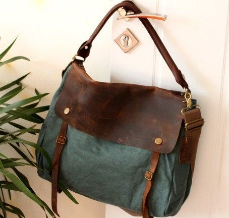 Blue-green Canvas-Leather Tote/ Shopping bag / Shoulder Bag/ Woman bag/ Leather Satchel/ Canvas bag. $85.00, via Etsy.