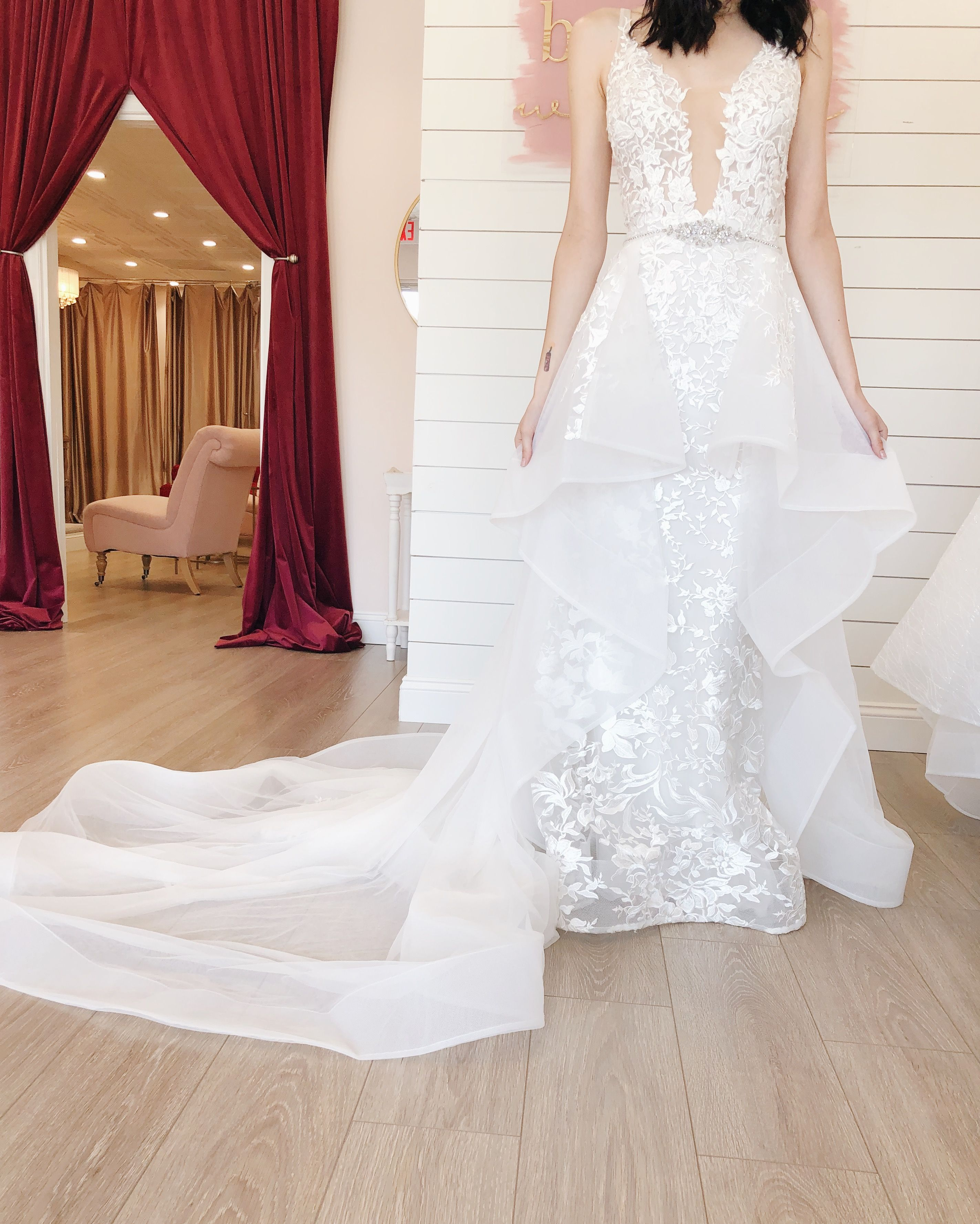The Mirai wedding gown with it's detachable layered tulle