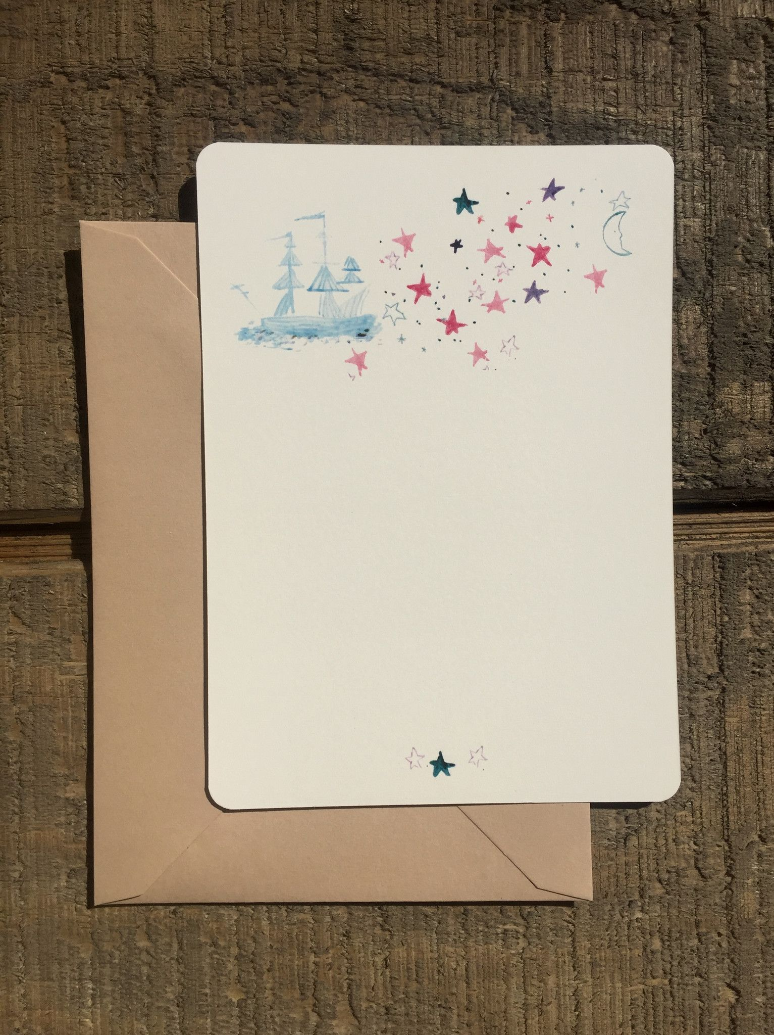 Printed Card Set Watercolor Sailboat And Stars Cards Colored