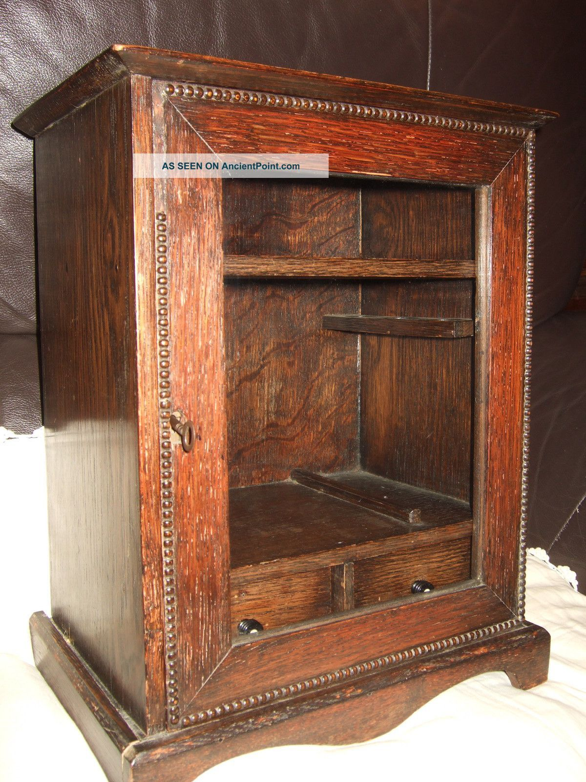 Antique Wall Cabinet Images | Antique Oak Wall Cabinet Smoking Pipe Tobacco  Cupboard With Key .