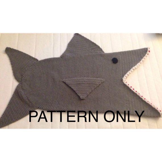 Shark Attack Kid\'s Blanket, PDF Crochet Pattern - English Only ...