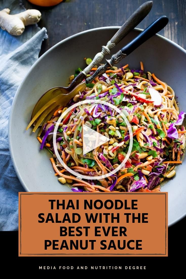THAI NOODLE SALAD WITH THE BEST EVER PEANUT SAUCE #HEALTHYVEGAN #DELICIOUS  A day or two ago I got a craving for an old backup we used to have on the Mizuna menu, the vegan eatery my companion Tonia and I began together path back when. Thai #Noodle #Salad with Peanut Sauce. Here its made with rice noodles and a boatload of crunchy veggies-cabbage, carrots, chime pepper and radish, at that point hurled in the most tasty, adjusted shelled nut sauce eeeeeeeeeever!.