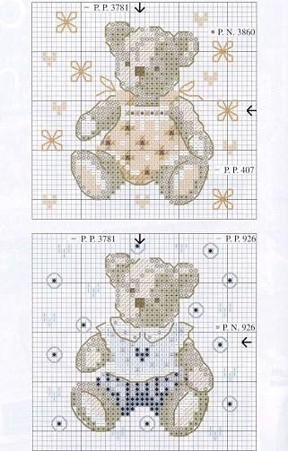 Pair of plush bears cross stitch pattern bears in yellow hat cross stitch Christmas ornament cross stitch