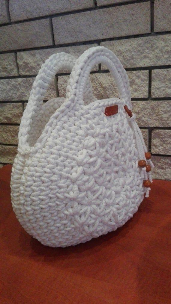 Bolso de ganchillo hecho a mano, bolso macarrones de color blanco nieve, bolso
