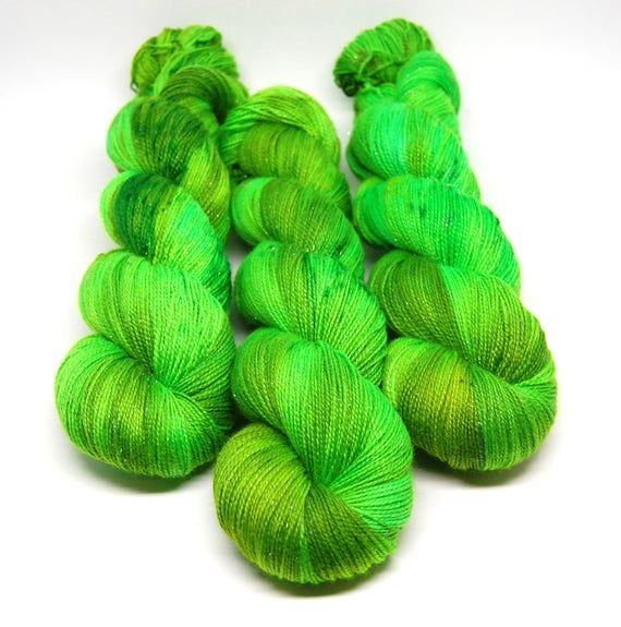 Acid Green - Glam Rock Sparkle Sock Yarn -  Handpainted Superwash Merino - 438 Yards #glovesmadefromsocks