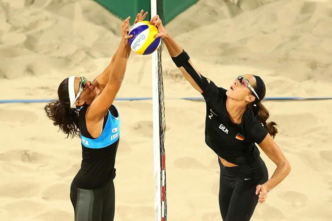 RIO DE JANEIRO, BRAZIL - AUGUST 11: Kira Walkenhorst of Germany is blocked by Laura Giombini of Italy during the Women's Preliminary Pool D on Day 6 of the Rio 2016 Olympics at the Beach Volleyball Arena on August 11, 2016 in Rio de Janeiro, Brazil. (Photo by Paul Gilham/Getty Images)