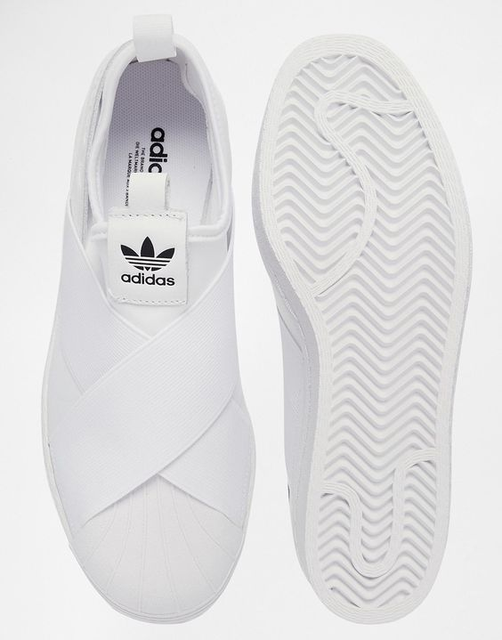 womens adidas black & white superstar slip on trainers