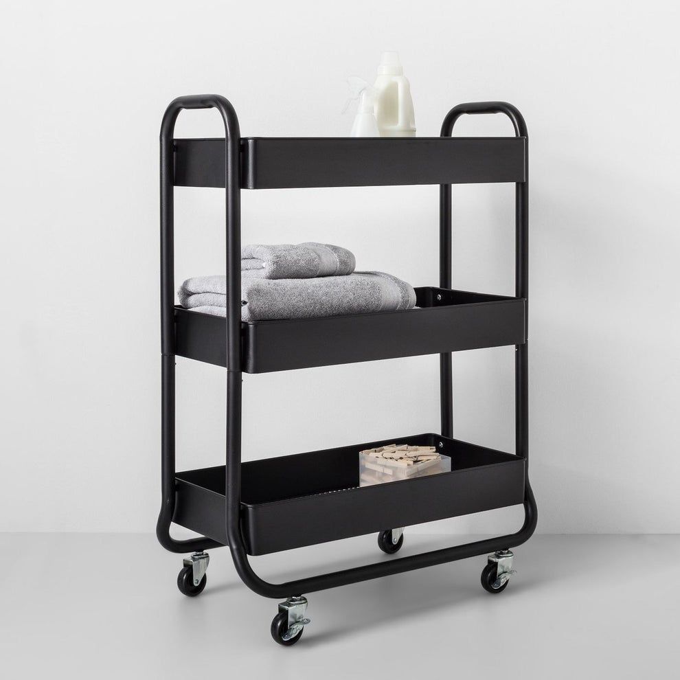 A Metal Cart Perfect For Extra Storage In Basically Any Room In Your Home From The Bathroom To The Laundry Room Or Eve In 2020 Metal Cart Storage Cart Made By Design