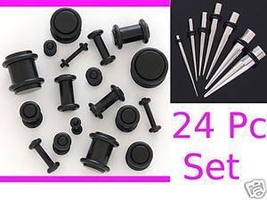 0g 2g 4g 6g 8g 10g 12g 14g Steel Tapers Black Plugs Ear Ear Stretching Kit Gauges Plugs Ear Plugs
