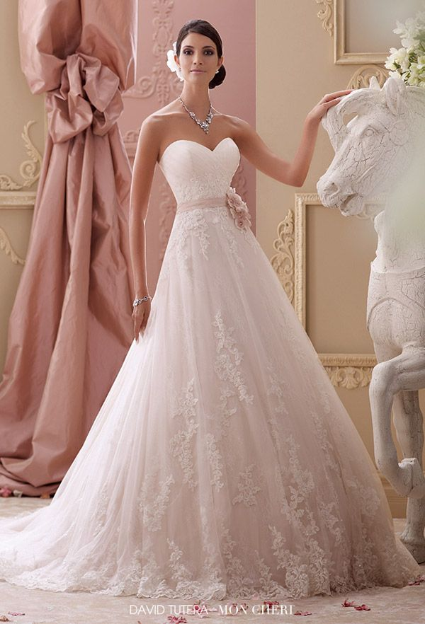 2015 Style 115251 Blakesley Strapless Lace Hand Beaded Corded Applique A Line Wedding Dress Sweetheart