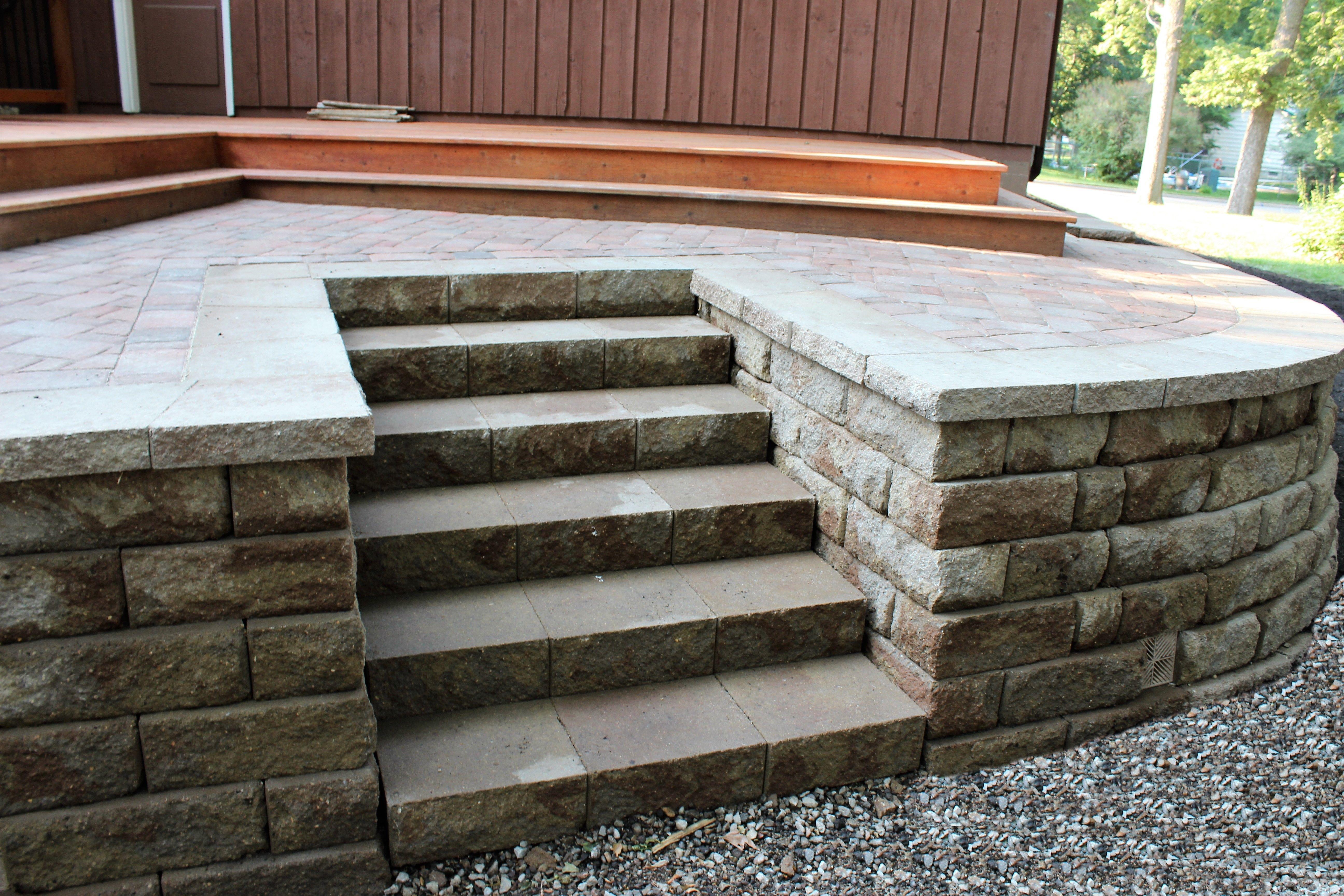 Anchor Diamond Block Retaining Wall Free Standing Seat Wall Paver Patio Patio Design Patio Installation Patio