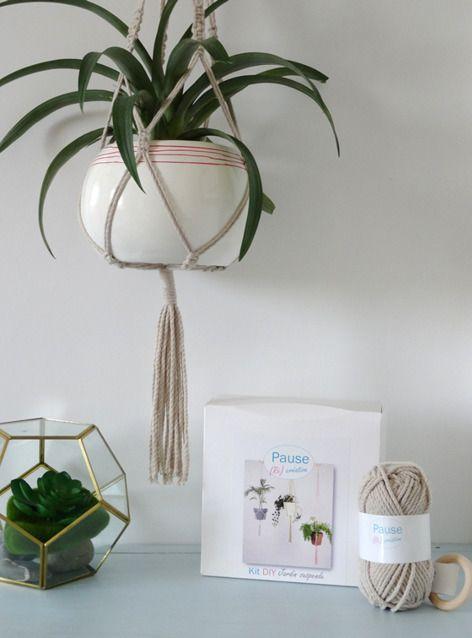 kit diy pour r aliser soi m me une tenture murale en macram suspension pour plante. Black Bedroom Furniture Sets. Home Design Ideas
