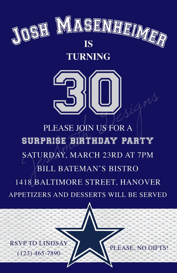 Dallas Cowboys Themed Adult Birthday Invitations – Dallas Cowboys Party Invitations