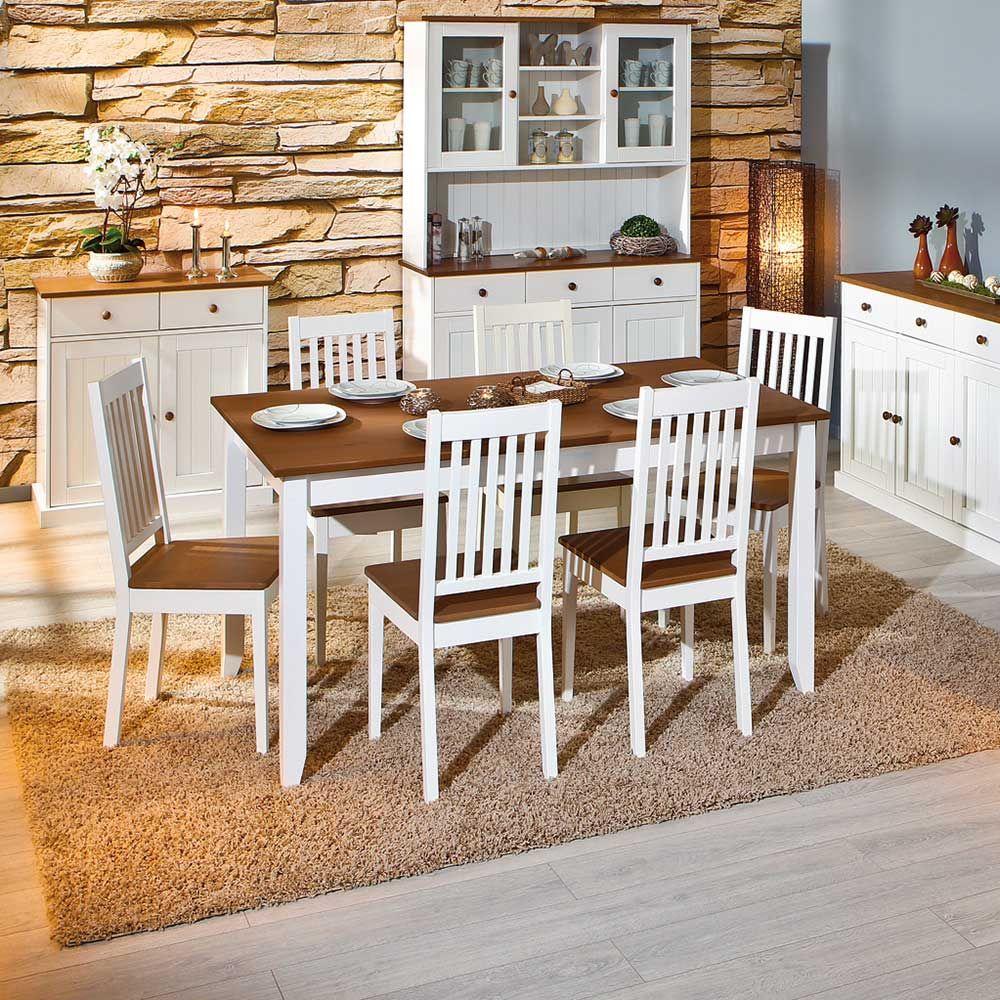Esszimmer weiß braun  Esszimmertisch in Weiß Braun Kiefer Massivholz Jetzt bestellen ...
