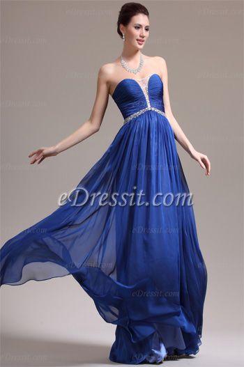 Wunderbar Trägerlos Süß Ausschnitt Blau Abendkleid (00138605 ...