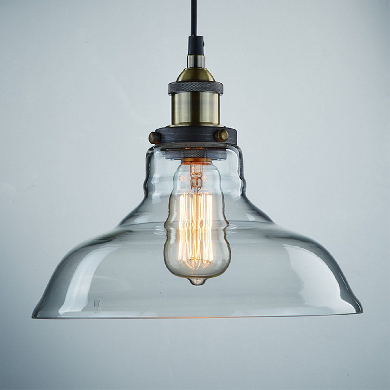 CLAXY Vintage Industrial Glass Ceiling Lamp Shade Pendant Light ...