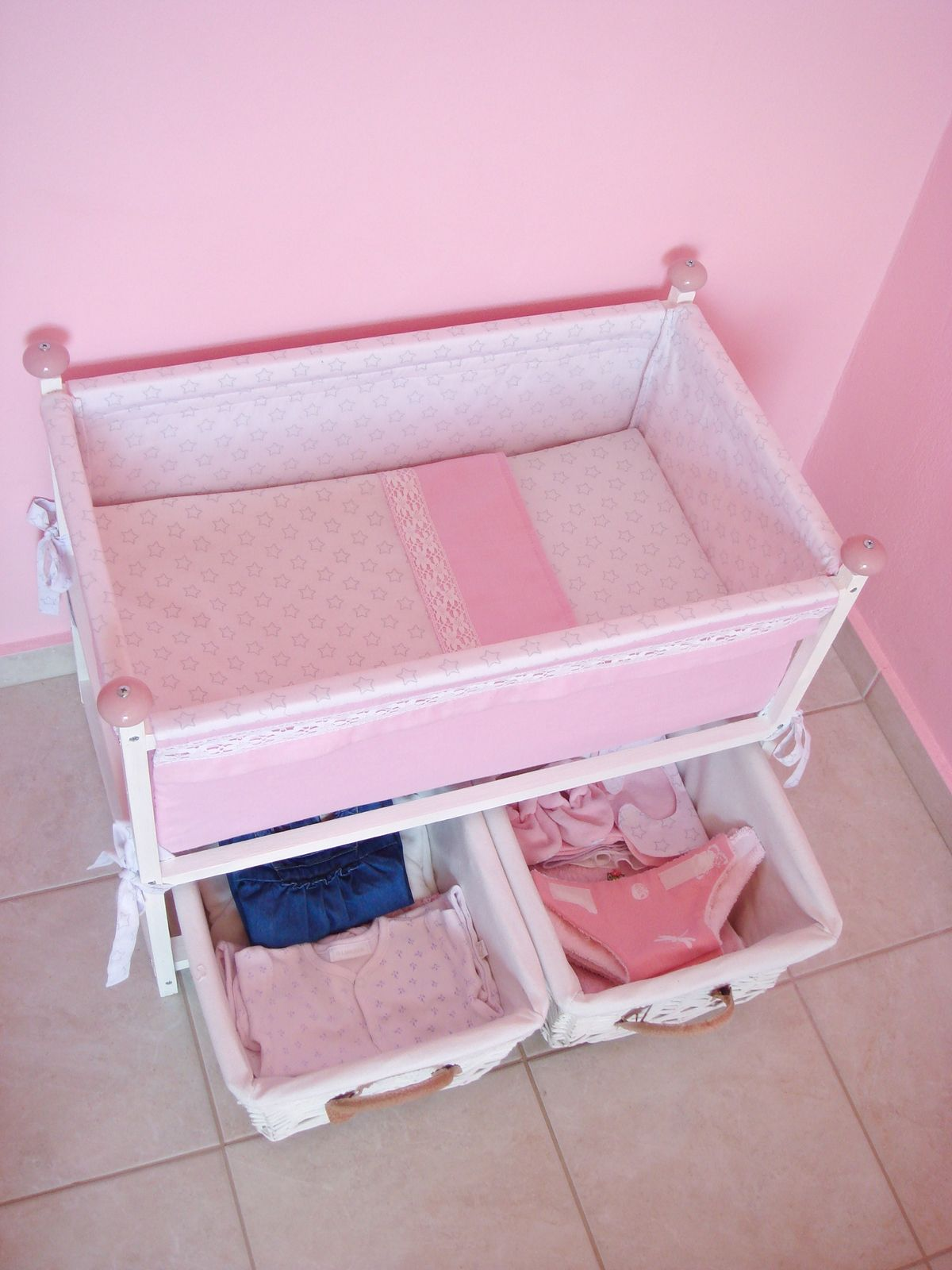 Diy Doll Basinet Crib Bed With Basket Storage Under It