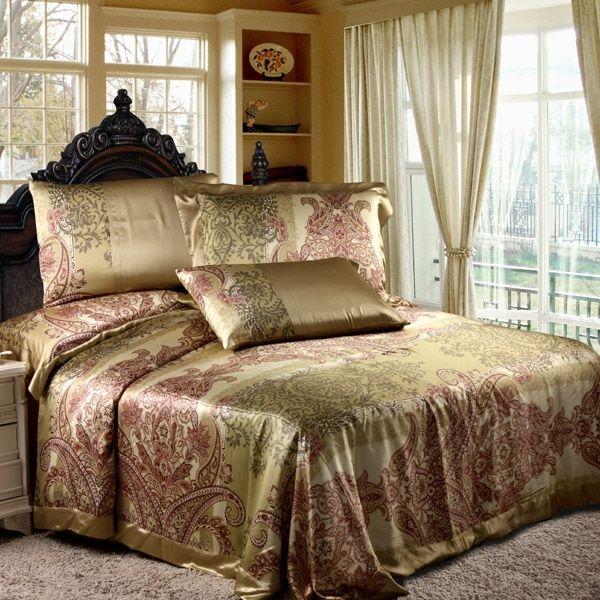 8 Pieces Silk Luxury Bedding Sets #silk #bedding Luxury Bedding