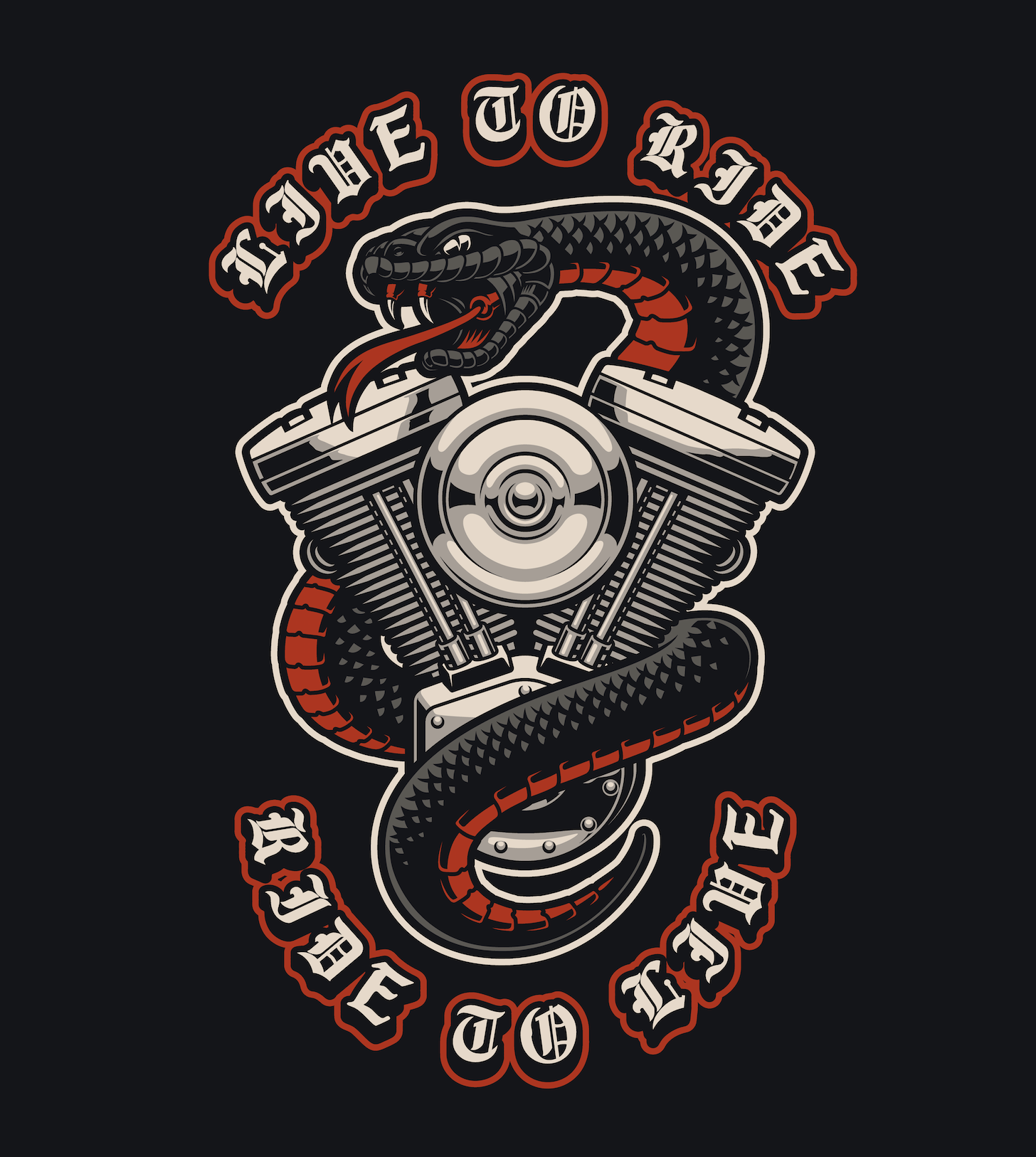 Vector illustration of a snake with motorcycle engine