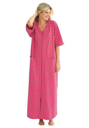 2d171aacfdc Dreams And Company Plus Size Long Robe In French Terry With Zip Front -  List price   44.77 Price   31.77