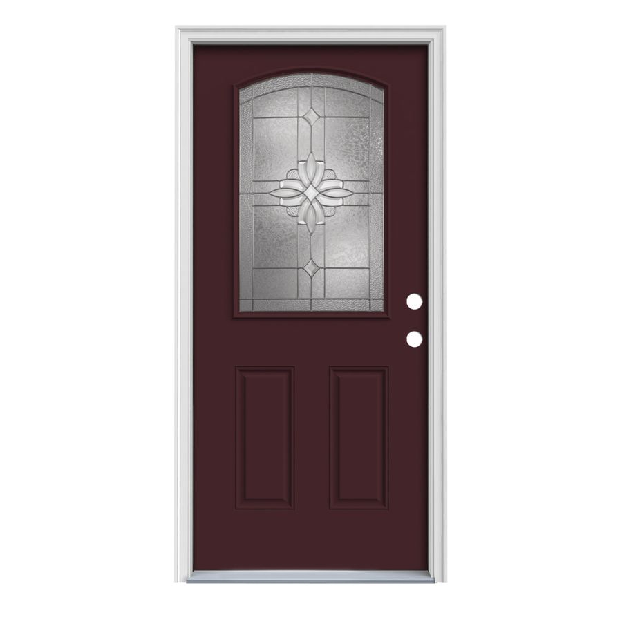Jeld Wen Laurel 1 4 Lite Decorative Glass Left Hand Inswing Currant Painted Steel Prehung Entry Door W In 2020 Entry Doors Steel Entry Doors Paint Steel Door