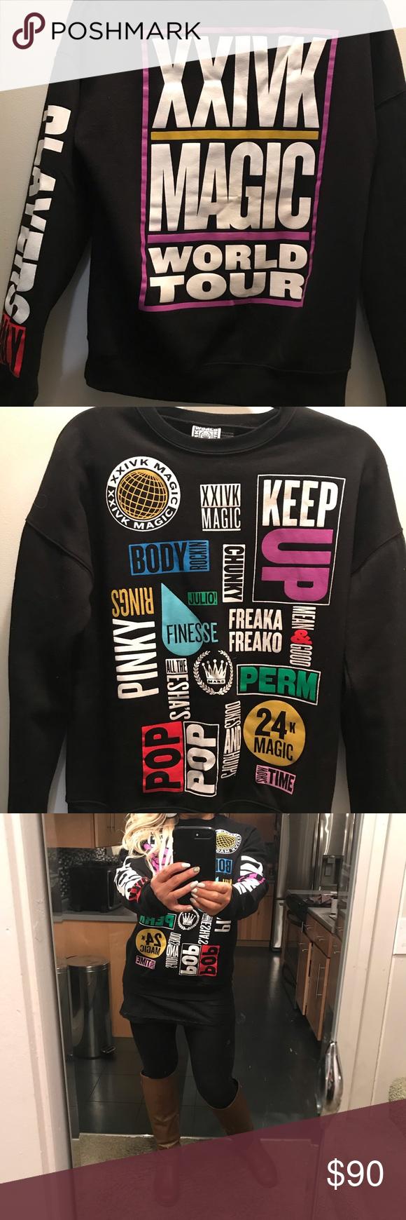 37e958f94 Bruno Mars 24K magic world tour sweatshirt sz M Beautiful, vibrant colors  Bruno Mars official merchandise sweatshirt. Sz M. Front has song titles and  lyrics ...