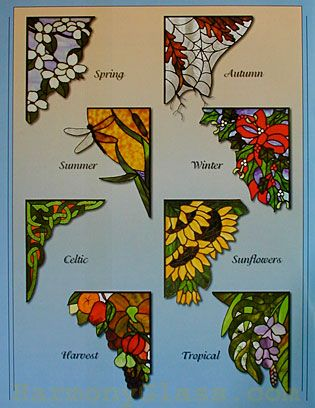 stained glass corner panels | Stained Glass Supplies - books - Corner Accents