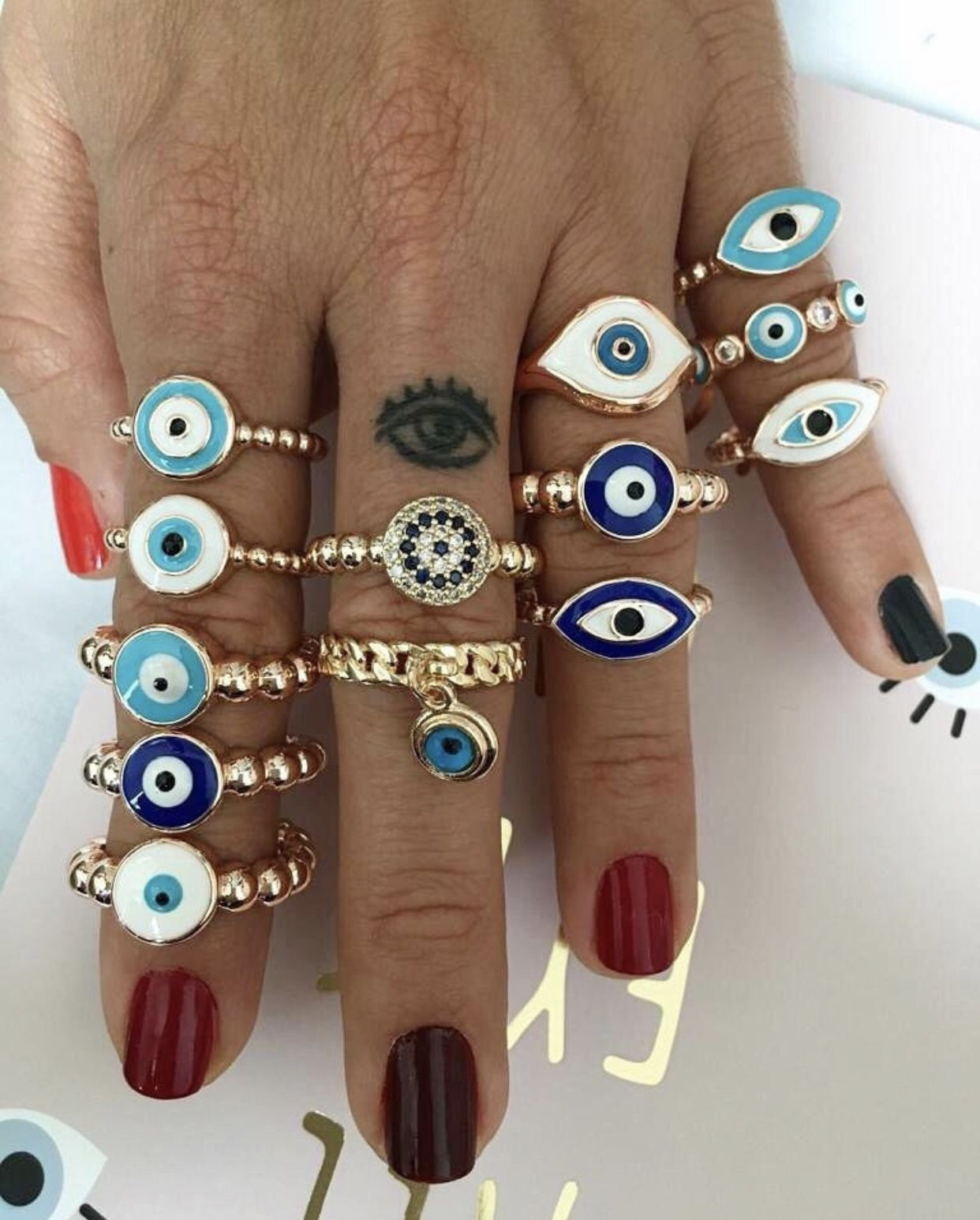Blue evil eye ring adjustable ring dainty ring rose gold | Etsy