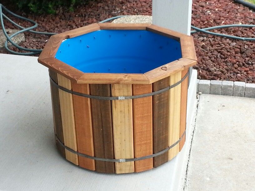 Planter   Made From Scrap Lumber And A Plastic 55 Gallon Barrel.