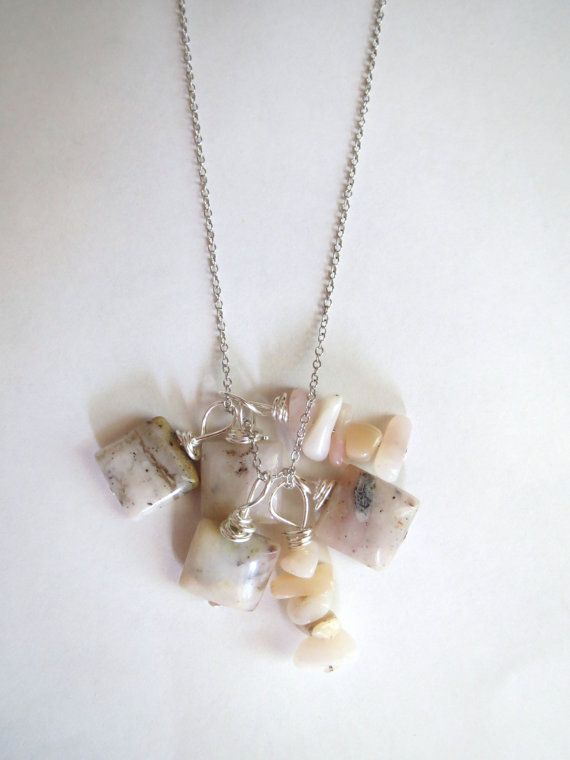 Genuine Pink Opal Cluster Pendant Necklace by Emerald City Custom Jewelry