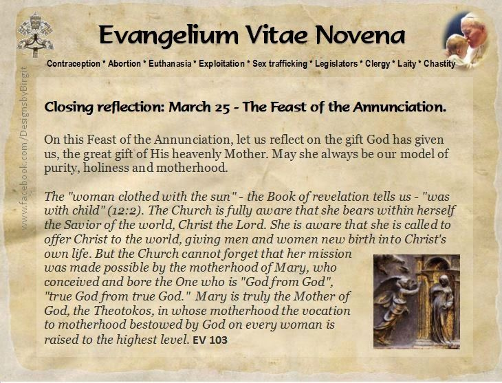 Happy 20th Anniversary of Evangelium Vitae and Feast of the