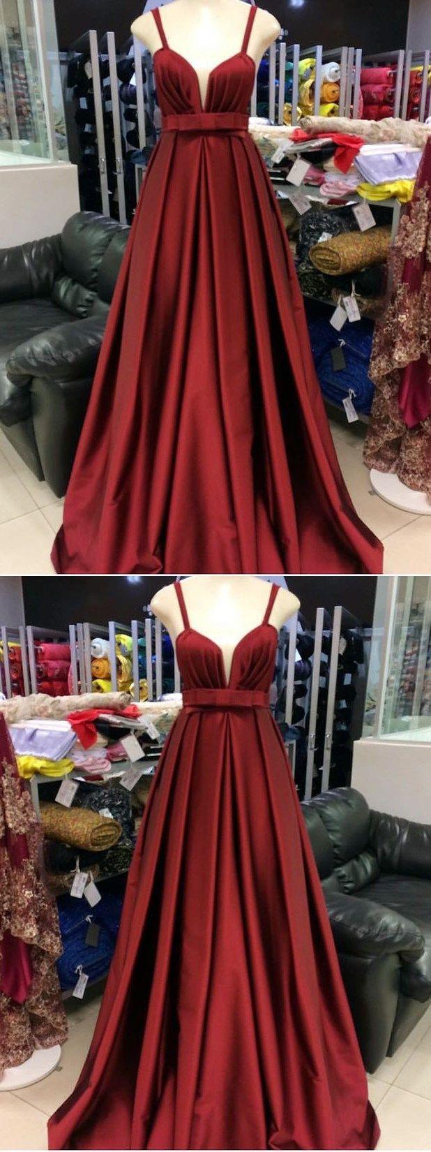 Simple prom dresses straps aline long burgundy cheap prom dress