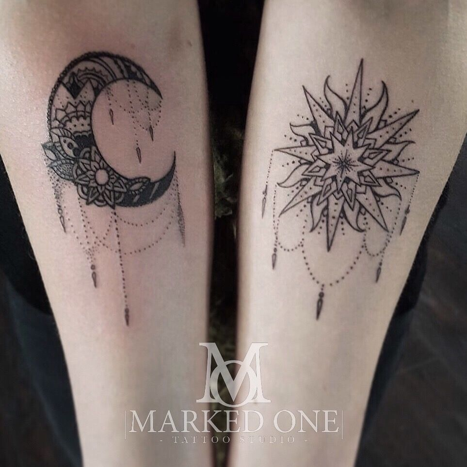 Girly forearm piece. matching arm for girly tattoo. Sun and moon ...