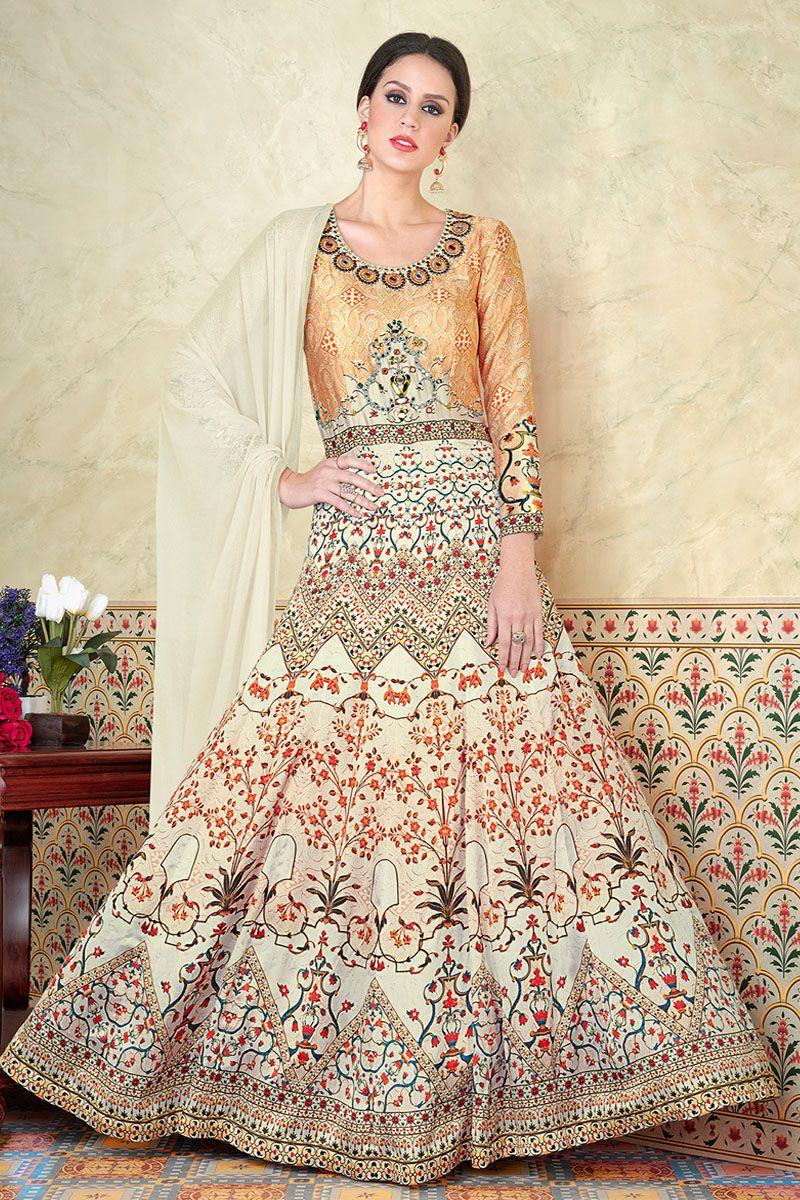 6220626a11 Cream & Gold beautiful Printed Wedding Wear Traditional Occasionally  Fashion Lhenga Style Suit #swagat #chenab #whitedresses #heavyprinted # anarkali ...
