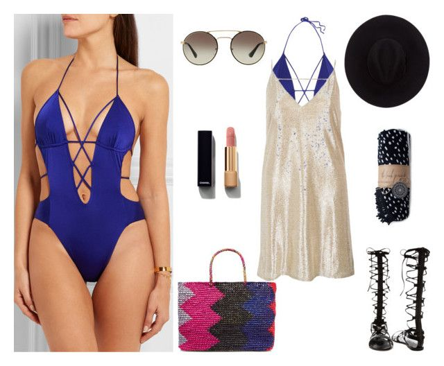 """beach --- cover ups"" by ktina-martinez ❤ liked on Polyvore featuring Agent Provocateur, River Island, Raye, Sensi Studio, Chanel, Brixton, Prada, The Beach People, summerstyle and designer"