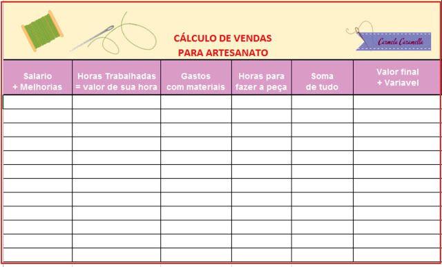 Carmela Caramella : tabela de calculo