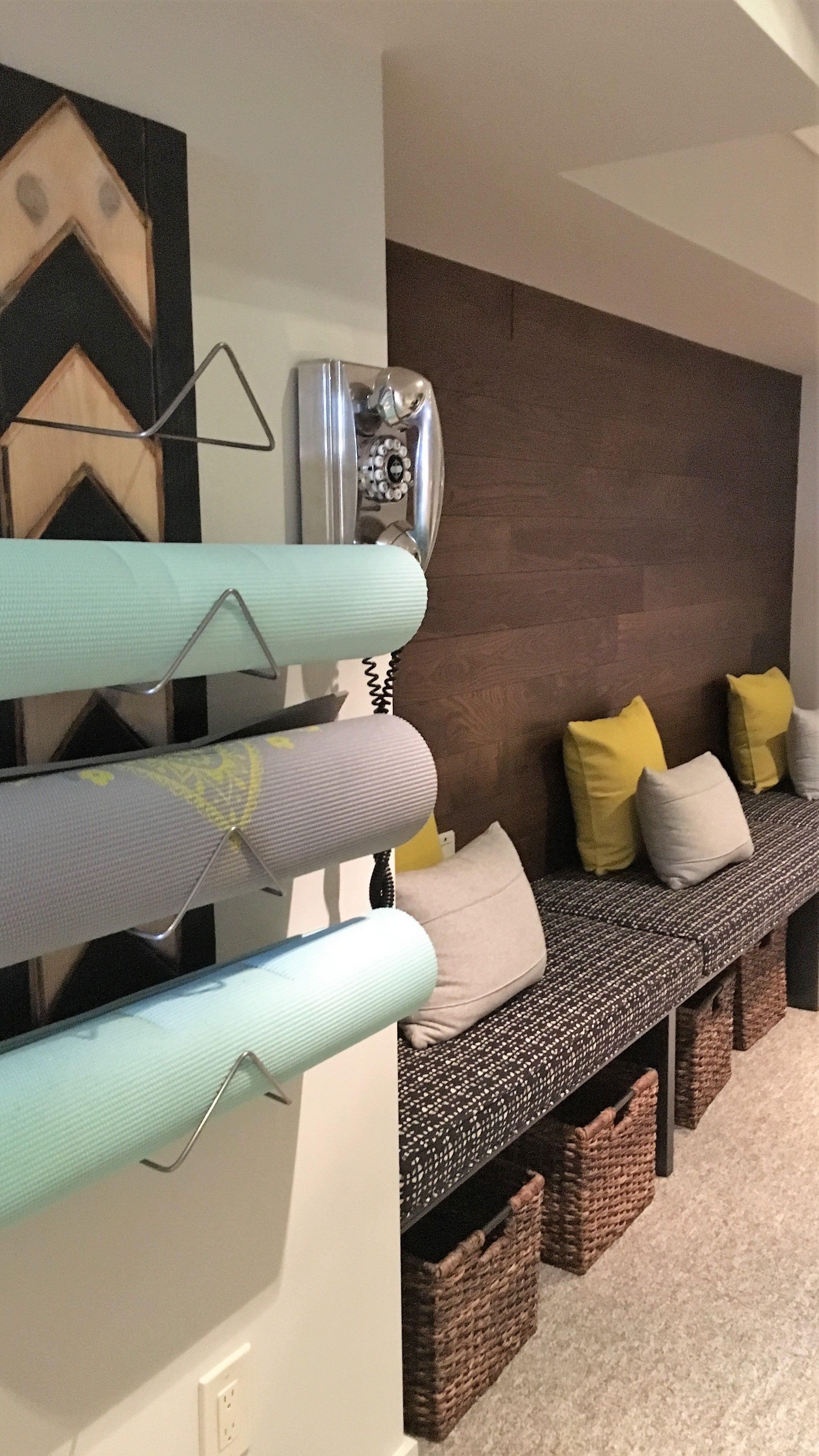 Modern Home Gym Decor Yoga Mat Holder Custom Cushions Gym Storage Solutions Stickwood Accent Wall Home Gym Decor Gym Room At Home Gym Wall Decor