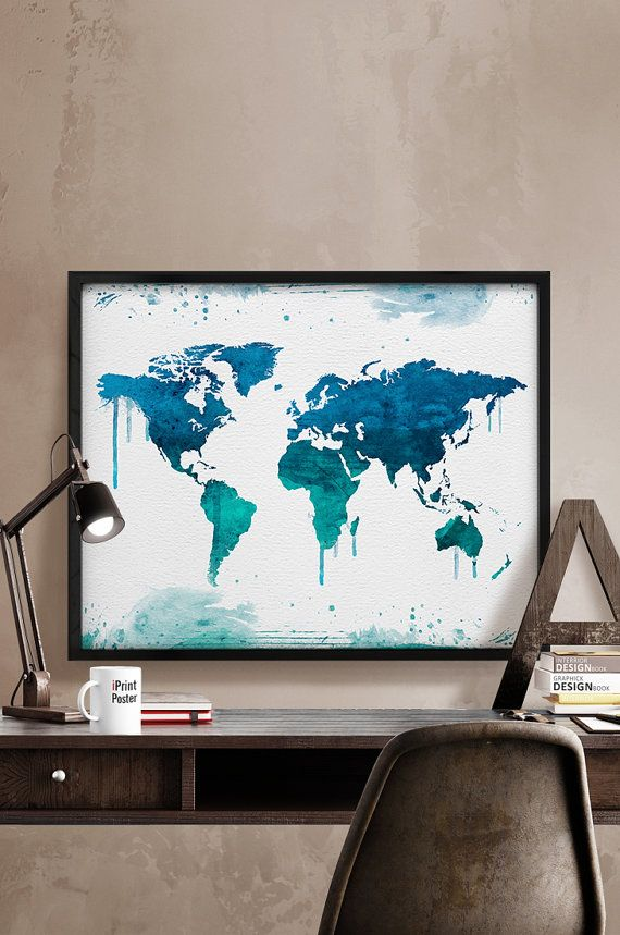 World map poster world map print world map watercolour large world map poster world map print world map watercolour large world map watercolour map travel map wall art home decor iprintposter gumiabroncs Images