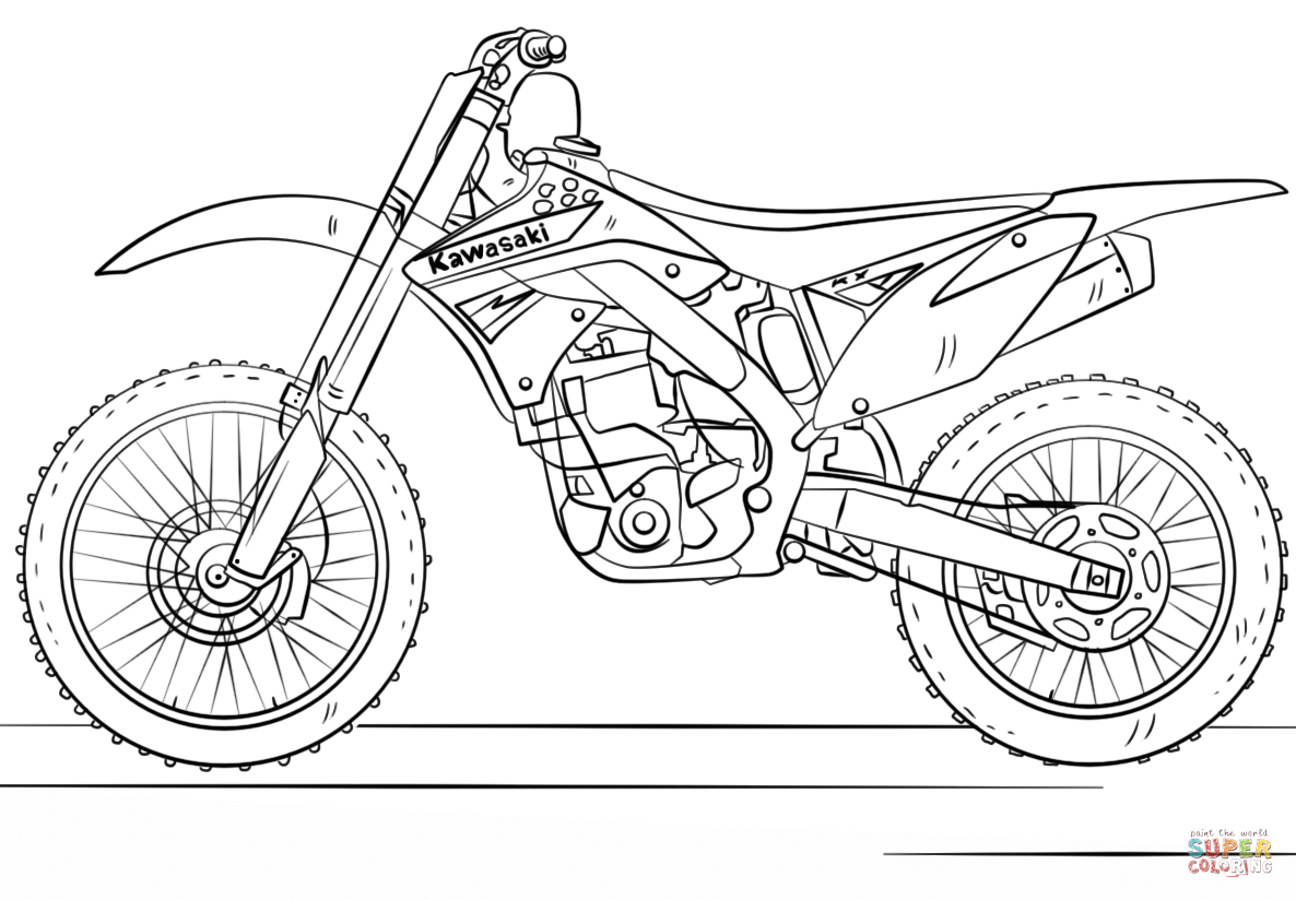 Kawasaki Motocross Bike Super Coloring Bike Drawing Motocross Bikes Motocross