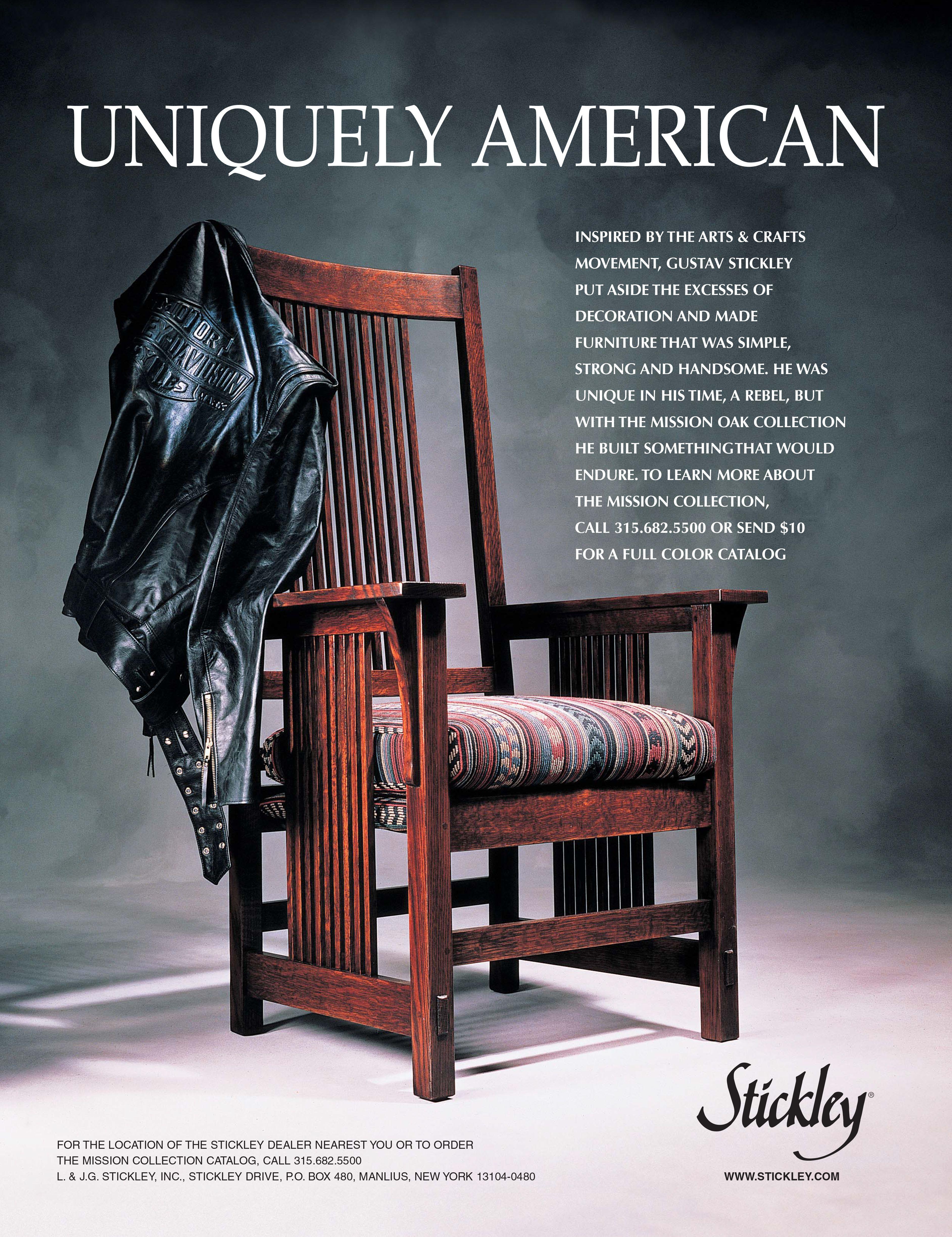 ... Vintage Stickley Furniture Advertisement Uniquely American Harley Jacket