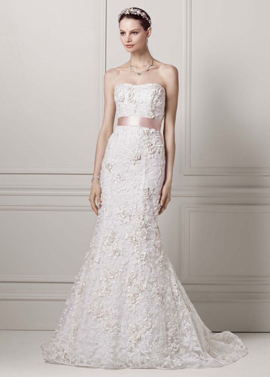 Fitted Trumpet Gown with Subtle Pink Flowers - David\'s Bridal ...