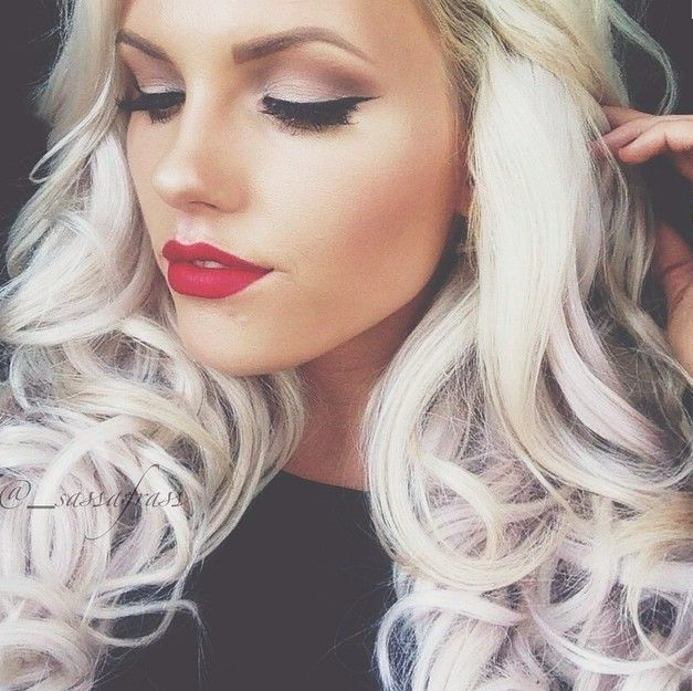 Cat Eye Red Lip Makeup For Blondes Blonde With Blue Eyes Hair Makeup