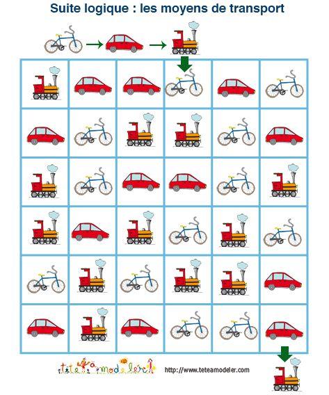 jeu pour enfant à imprimer : suite logique sur les moyens de transport | Jeux de logique