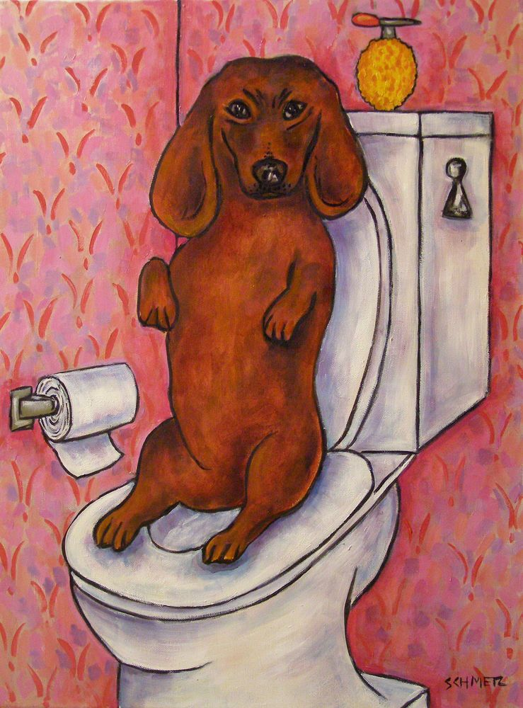 Dachshund Dog Bathroom Wall Art 8x10 Art Artist Print Impressionism Gift Dachshund Art Dog Bathroom Dog Art