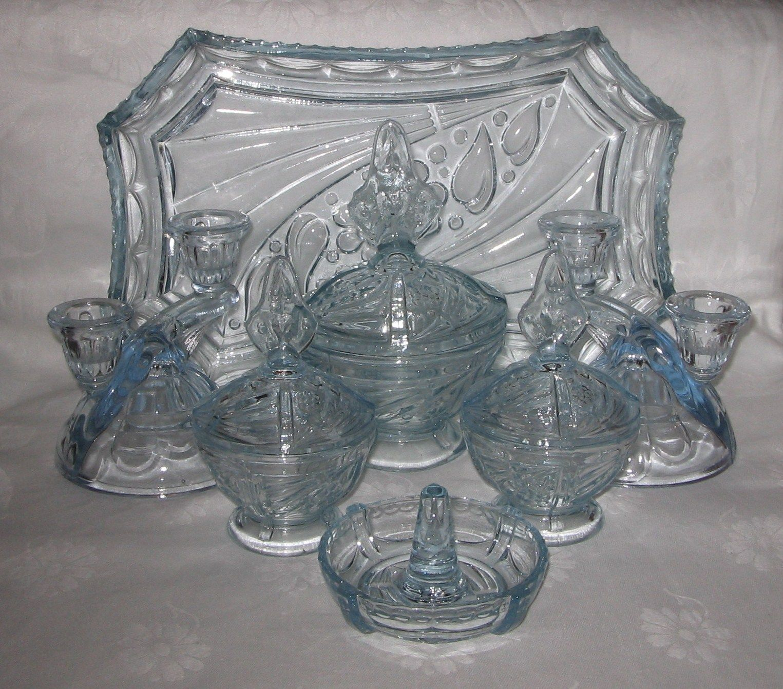 Pressed Blue Glassware