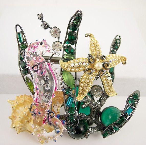 Vintage Designer Signed MOUS Huge Ornate Sea  Brooch